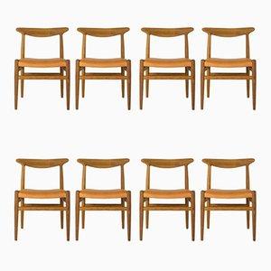 Modell W2 Esszimmerstühle von Hans J. Wegner für C.M. Madsen, 1960er, 8er Set