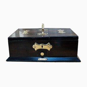 Antike Zigarettenbox aus Holz & Messing, 1900er