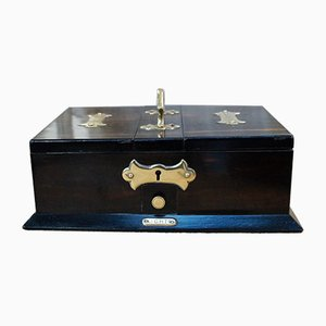 Antique Wood and Brass Cigarette Box, 1900s