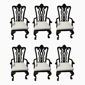 Schwarze amerikanische Esszimmerstühle aus Ahorn mit grauem Stoffbezügen von Stanley, 1990er, 6er Set
