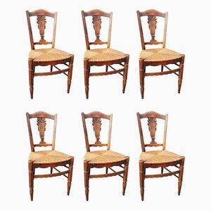 Antike Esszimmerstühle mit Sitzflächen aus Rattan, 6er Set