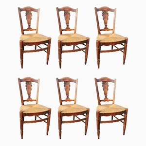 Antique Rattan Dining Chairs, Set of 6