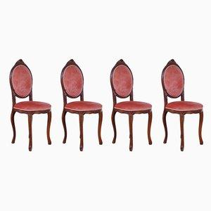 Esszimmerstühle mit rosafarbenen Samtbezügen, 1960er, 4er Set