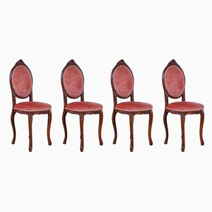 Sillas de comedor de terciopelo rosa, años 60. Juego de 4
