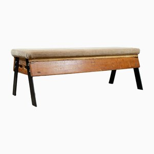 Vintage Suede and Wood Bench