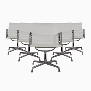 Vintage Model EA107 Aluminum and White Leather Desk Chairs by Charles & Ray Eames for Herman Miller, Set of 6