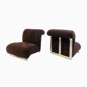 Braune Vintage Samthocker aus gebürstetem Chrom, 2er Set