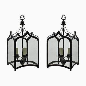 Gotische Deckenlampen aus Eisen, 1960er, 2er Set