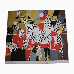 Juego de litografía modular vintage de Marcello Avenali, años 70