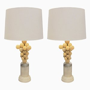 Vintage Alabaster Table Lamps, 1970s, Set of 2