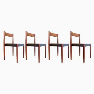Dänische Esszimmerstühle aus Teak & schwarzem Kunstleder, 1960er, 8er Set