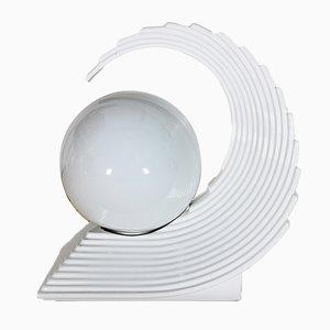 Tischlampe aus glasierter Keramik in Wellen-Optik, 1970er