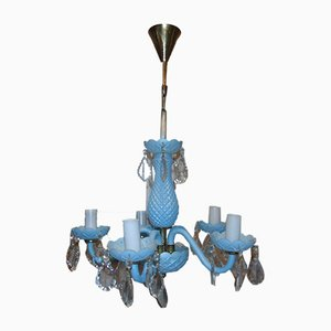 Vintage Blue Glass and Brass Chandelier, 1970s