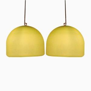 Lámparas de techo vintage de cristal de Murano pistacho. Juego de 2