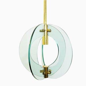 Vintage Deckenlampe aus Glas & Messing