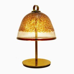 Lámpara de mesa italiana vintage de cristal de Murano y latón