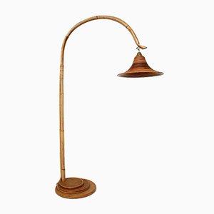 Lámpara de pie de arco vintage de bambú