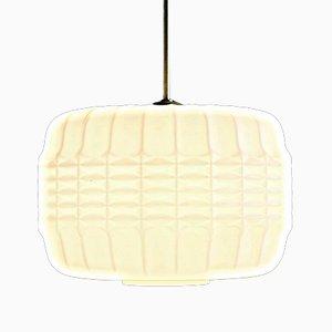 Lampe à Suspension Vintage en Verre Opalin Blanc