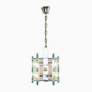Lámpara colgante vintage de cromo y vidrio de Fontana Arte