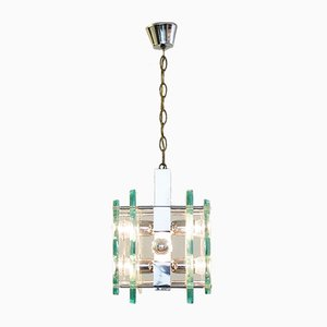 Vintage Chrome and Glass Pendant Lamp from Fontana Arte