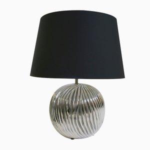 Lámpara de mesa vintage de plata y cerámica
