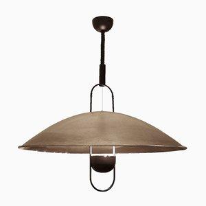 Lámpara colgante vintage grande de metal con domo
