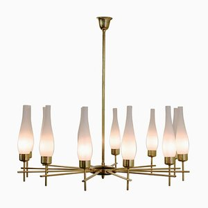 Vintage Italian Brass and Opaline Glass Ceiling Lamp, 1960s