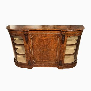 Antique Burr Walnut and Marquetry Inlaid Credenza