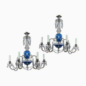 Lámparas de araña inglesas vintage de Wedgwood, años 30. Juego de 2