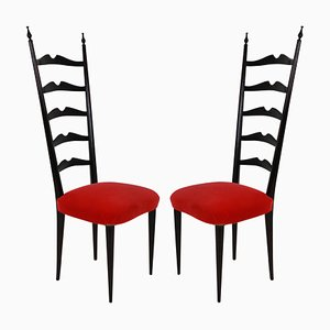 Mid-Century Italian Wood and Velvet Side Chairs by Paolo Buffa, 1940s, Set of 2