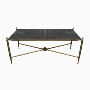 Brass and Black Granite Coffee Table from Maison Jansen, 1940s