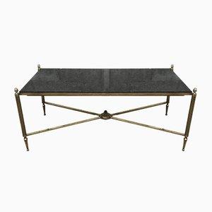 Table Basse en Laiton et Granit Noir de Maison Jansen, 1940s