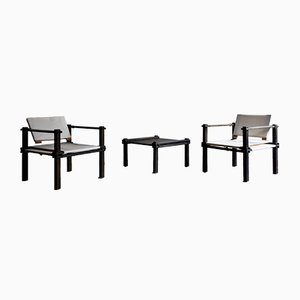 Safari Armchairs and Coffee Table Set by Gerd Lange for Bofinger, 1960s, Set of 3