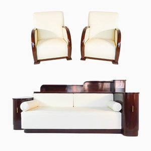 Art Deco Cosy Sofa and Armchairs Set from De Coene Freres, 1930s, Set of 3