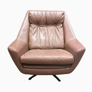 Scandinavian Leather Swivel Lounge Chair, 1950s