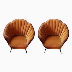 Brass and Velvet Shell Armchairs, 1950s, Set of 2