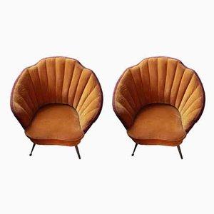 Butacas de latón y terciopelo en forma de concha, años 50. Juego de 2