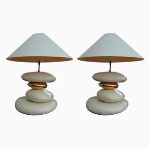Grandes Lampes de Bureau en Céramique par François Chatain, 1980s, Set de 2