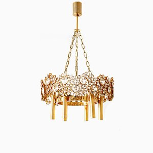 Gilt Brass and Cut Crystal Glass Model Juwel Chandelier from Palwa, 1970s