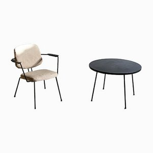 Sedia e tavolino di Rudolf Wolf per Elsrijk, anni '50, set di 2