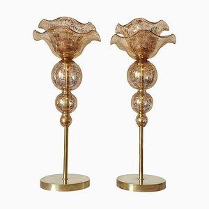 Lámparas de mesa Mid-Century grandes de cristal de Murano, años 60. Juego de 2