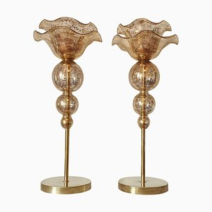 Large Mid-Century Murano Glass Table Lamps, 1960s, Set of 2
