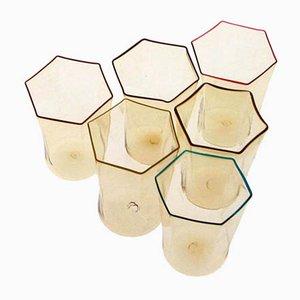 Verres Pageliesco Hexagonaux Vintage par Carlo Sarpa, Set de 6