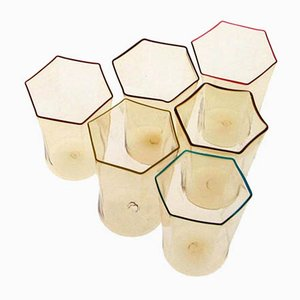 Vintage Hexagonal Pagliesco Glasses by Carlo Sarpa, Set of 6