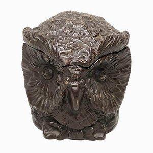 Petit Pot à Tabac Hibou Antique en Céramique de Eichwald
