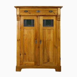 Mueble antiguo Art Nouveau de madera y vidrio verde, años 10