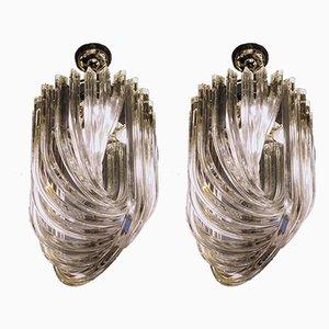 Lámparas de araña Curvati Triedi de cristal de Murano de Carlo Nason para Industria Veneziana, años 80. Juego de 2