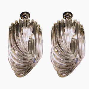 Murano Glass Curvati Triedi Chandeliers by Carlo Nason for Industria Veneziana, 1980s, Set of 2
