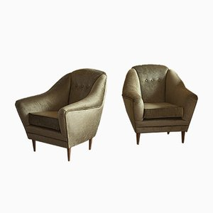 Italian Cotton and Velvet Armchairs, 1950s, Set of 2