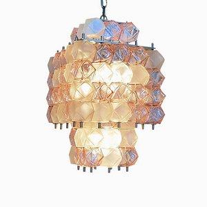 Lámpara de araña Mid-Century de cristal de Murano rosa y transparente, años 60